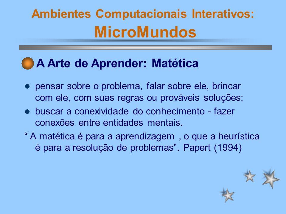 Ambientes Computacionais Interativos: MicroMundos Computador - máquina de ensinar skinneriana.