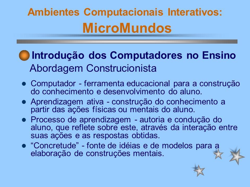 Ambientes Computacionais Interativos: MicroMundos Enfatiza a máquina com vistas a ensinar o aluno (sem provocar conflitos); A melhor aprendizagem é obtida a partir do aperfeiçoamento da instrução; Supervaloriza o abstrato.