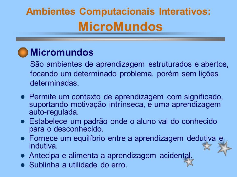 Ambientes Computacionais Interativos: MicroMundos a forma como a criança interage e aprende; desenvolve a criatividade, desperta a curiosidade e conduz à investigação; encoraja a construção e a aprendizagem.