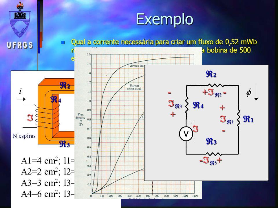 Exemplo 1 2 i a a 2a b b c d a=1cm e=2,5cm b=3cm c=4cm d=6cm n Qual a corrente necessária para criar um fluxo de 0,135mWb na perna lateral do núcleo de chapa de aço silício, com uma bobina de 300 espiras na perna central.