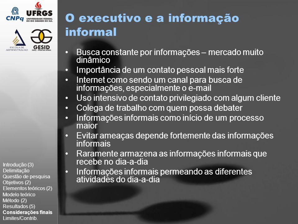 Limites & Sugestões Estudo exploratório na região de Porto Alegre [limite por que?] Baixo número de casos Análise qualitativa dos dados [isso é um limite?] Expandir o estudo para informações formais Buscar compreender o que ocorre em outras áreas, que não empresas ligadas à TI Realizar um estudo maior para verificar se há diferenças significativas em organizações com idade e tamanho Introdução (3) Delimitação Questão de pesquisa Objetivos (2) Elementos teóricos (2) Modelo teórico Método (2) Resultados (5) Considerações finais Limites/Contrib.