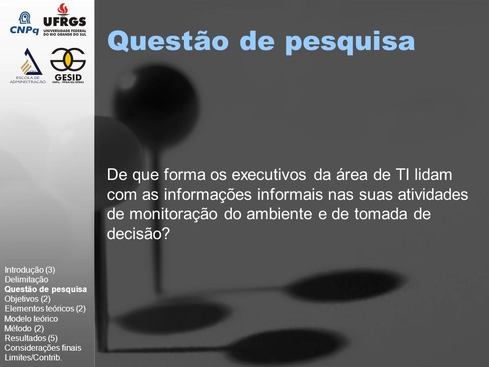Objetivo geral Identificar e analisar o uso da informação informal por executivos (usuários) e por especialistas (fornecedores) à luz das diferentes dimensões de monitoração do ambiente.