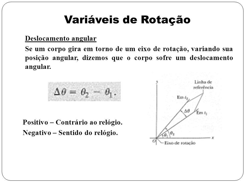 Variáveis de Rotação Velocidade angular Se um corpo está numa posição 1 no tempo t 1 e numa posição 2 num tempo t 2, então sua velocidade angular média será A velocidade angular instantânea Unidade: rad/s