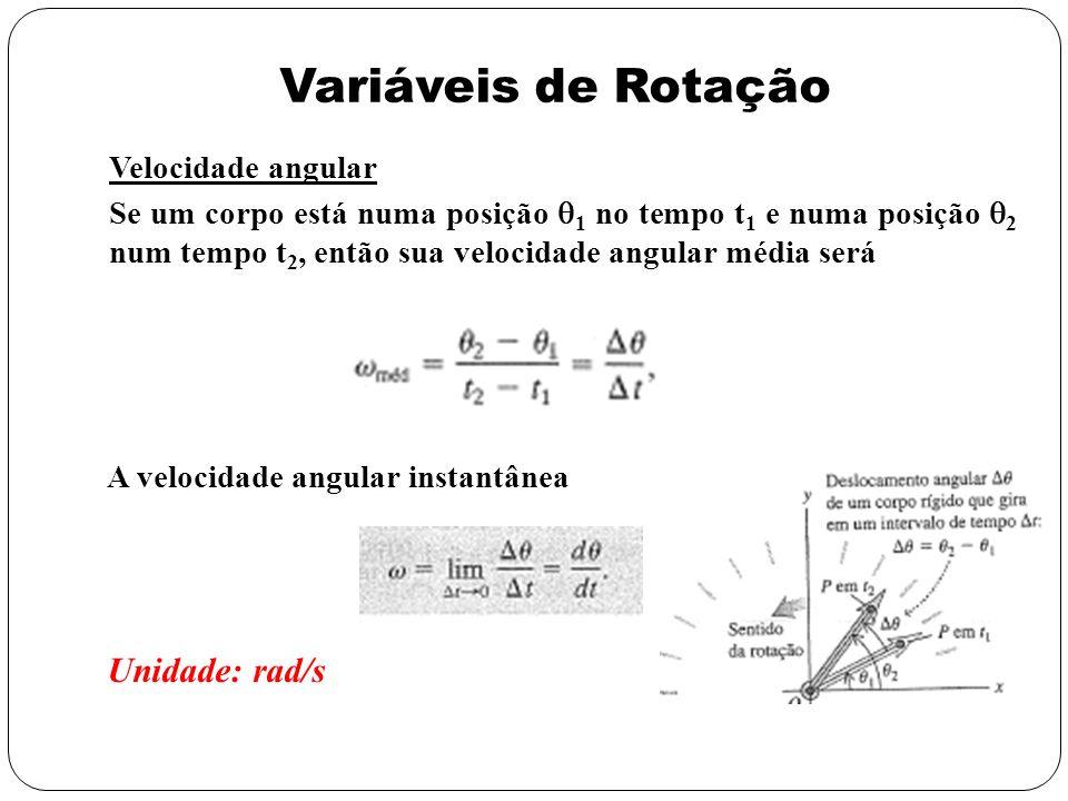 Variáveis de Rotação Aceleração angular Se a velocidade angular do corpo em uma rotação varia então ele produz uma aceleração angular A velocidade angular instantânea Unidade: rad/s 2