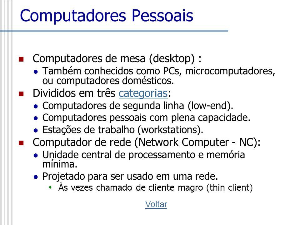 Categorias de PCs Computadores de segunda linha (low-end) Adequados para usuários domésticos, para processamento de texto, jogos simples e acesso à Internet.