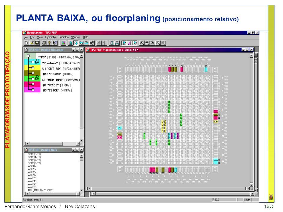 13/85 PLATAFORMAS DE PROTOTIPAÇÃO Fernando Gehm Moraes / Ney Calazans PLANTA BAIXA, ou floorplaning (posicionamento relativo)