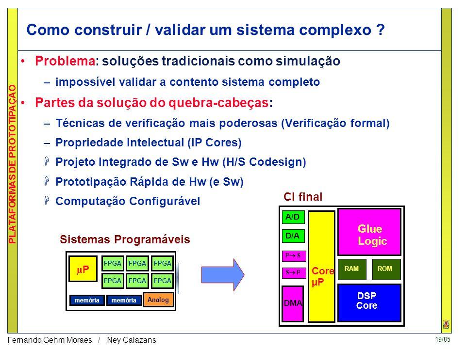 19/85 PLATAFORMAS DE PROTOTIPAÇÃO Fernando Gehm Moraes / Ney Calazans Como construir / validar um sistema complexo .