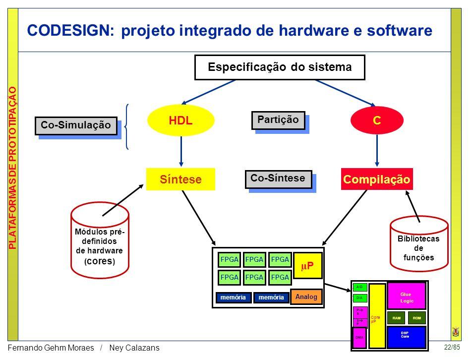22/85 PLATAFORMAS DE PROTOTIPAÇÃO Fernando Gehm Moraes / Ney Calazans CODESIGN: projeto integrado de hardware e software Co-Simulação Partição Co-Síntese Síntese HDL C Compilação Especificação do sistema Módulos pré- definidos de hardware ( cores ) Bibliotecas de funções µPµP memória FPGA memória Analog A/D D/A S P Core µP Glue Logic DSP Core DMA RAMROM P S