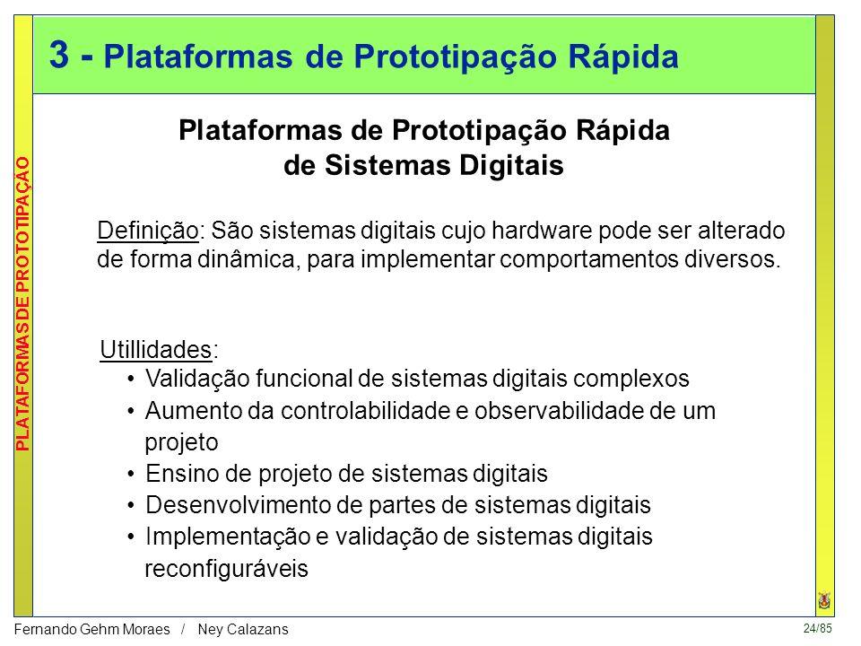 24/85 PLATAFORMAS DE PROTOTIPAÇÃO Fernando Gehm Moraes / Ney Calazans 3 - Plataformas de Prototipação Rápida Plataformas de Prototipação Rápida de Sistemas Digitais Definição: São sistemas digitais cujo hardware pode ser alterado de forma dinâmica, para implementar comportamentos diversos.