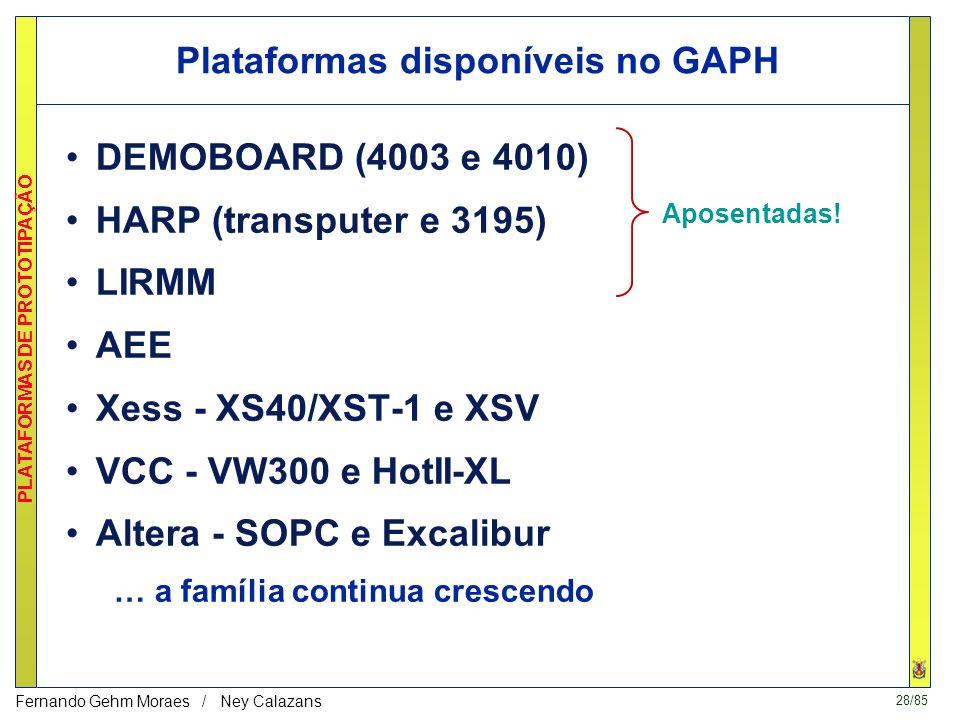 28/85 PLATAFORMAS DE PROTOTIPAÇÃO Fernando Gehm Moraes / Ney Calazans Plataformas disponíveis no GAPH DEMOBOARD (4003 e 4010) HARP (transputer e 3195) LIRMM AEE Xess - XS40/XST-1 e XSV VCC - VW300 e HotII-XL Altera - SOPC e Excalibur … a família continua crescendo Aposentadas!