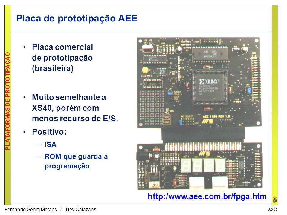 32/85 PLATAFORMAS DE PROTOTIPAÇÃO Fernando Gehm Moraes / Ney Calazans Placa de prototipação AEE http:/www.aee.com.br/fpga.htm Muito semelhante a XS40, porém com menos recurso de E/S.