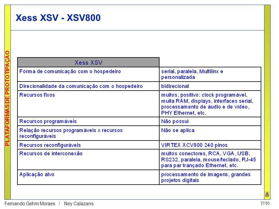 37/85 PLATAFORMAS DE PROTOTIPAÇÃO Fernando Gehm Moraes / Ney Calazans Xess XSV - XSV800