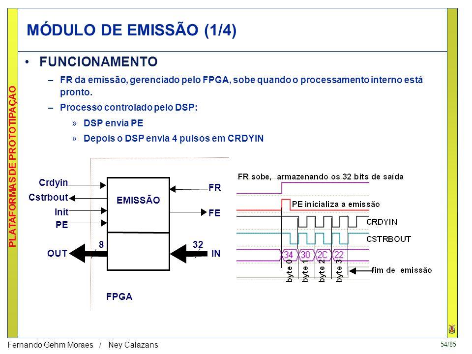54/85 PLATAFORMAS DE PROTOTIPAÇÃO Fernando Gehm Moraes / Ney Calazans MÓDULO DE EMISSÃO (1/4) FUNCIONAMENTO –FR da emissão, gerenciado pelo FPGA, sobe quando o processamento interno está pronto.