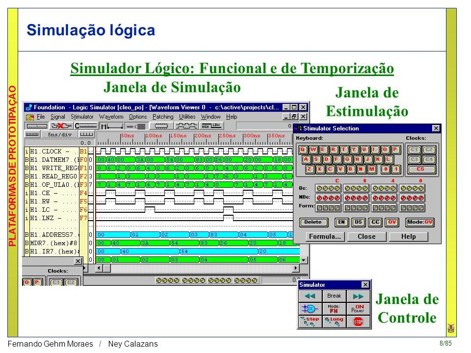 8/85 PLATAFORMAS DE PROTOTIPAÇÃO Fernando Gehm Moraes / Ney Calazans Simulação lógica Simulador Lógico: Funcional e de Temporização Janela de Simulação Janela de Estimulação Janela de Controle