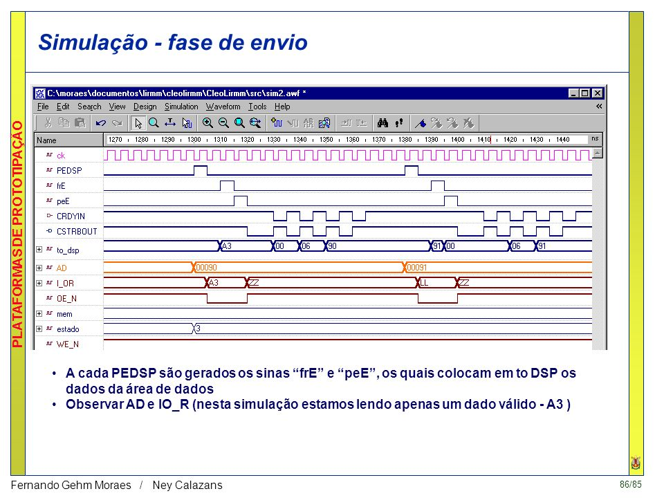 86/85 PLATAFORMAS DE PROTOTIPAÇÃO Fernando Gehm Moraes / Ney Calazans Simulação - fase de envio A cada PEDSP são gerados os sinas frE e peE, os quais colocam em to DSP os dados da área de dados Observar AD e IO_R (nesta simulação estamos lendo apenas um dado válido - A3 )