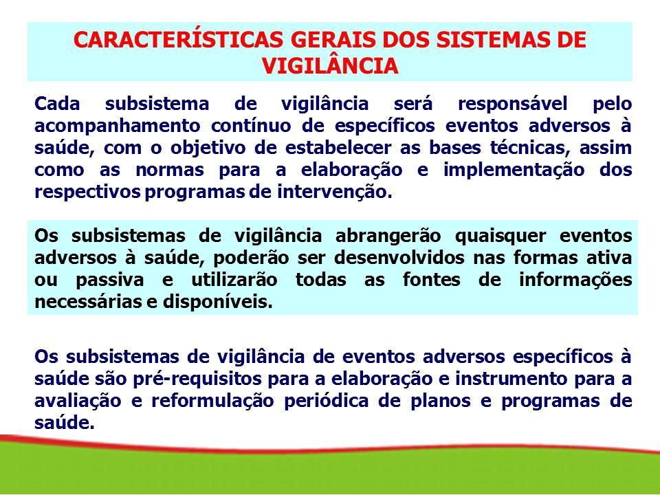 O SUS deverá desenvolver tantos subsistemas de vigilância para eventos adversos à saúde quantos sejam os problemas prioritários.