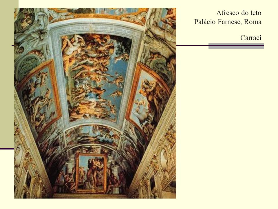 (1) Caravaggio (1 571-1610 ) - Temas sagrados tratados como acontecimento contemporâneo entre gente humilde; - Fundo escuro e iluminação na diagonal ( teatral ) ; - Impressão pessimista do destino humano; - LINHA NATURALISTA