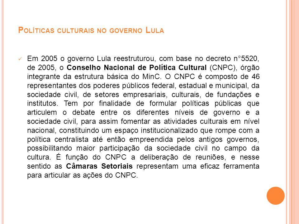 P OLÍTICAS CULTURAIS NO GOVERNO L ULA Ainda em 2005, ocorreu a 1°Conferência Nacional de Cultura, com base na qual se propôs a Emenda Constitucional n°48, prevendo a criação do PNC.