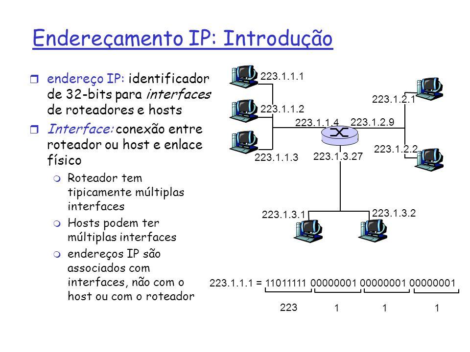 Endereçamento IP r Endereço IP: m parte de rede (bits mais significativos) m parte de Host part (bits menos significativos) r O que é uma rede.