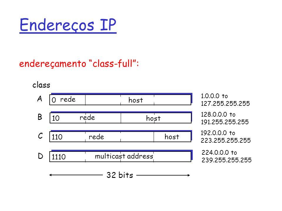Endereçamento IP: CIDR r Endereçamento Classful: m Uso ineficiente do espaço de endereçamento, exaustão do espaço de endereços m E.G., rede de Classe B aloca endereços para 65K hosts, mesmo se só existem 2000 hosts naquela rede r CIDR: classless interdomain routing m A porção de endereço de rede tem tamanho arbitrário m Formato do endereço: a.B.C.D/x, onde x é o número de bits na parte de rede do endereço 11001000 00010111 00010000 00000000 parte de rede parte de host 200.23.16.0/23