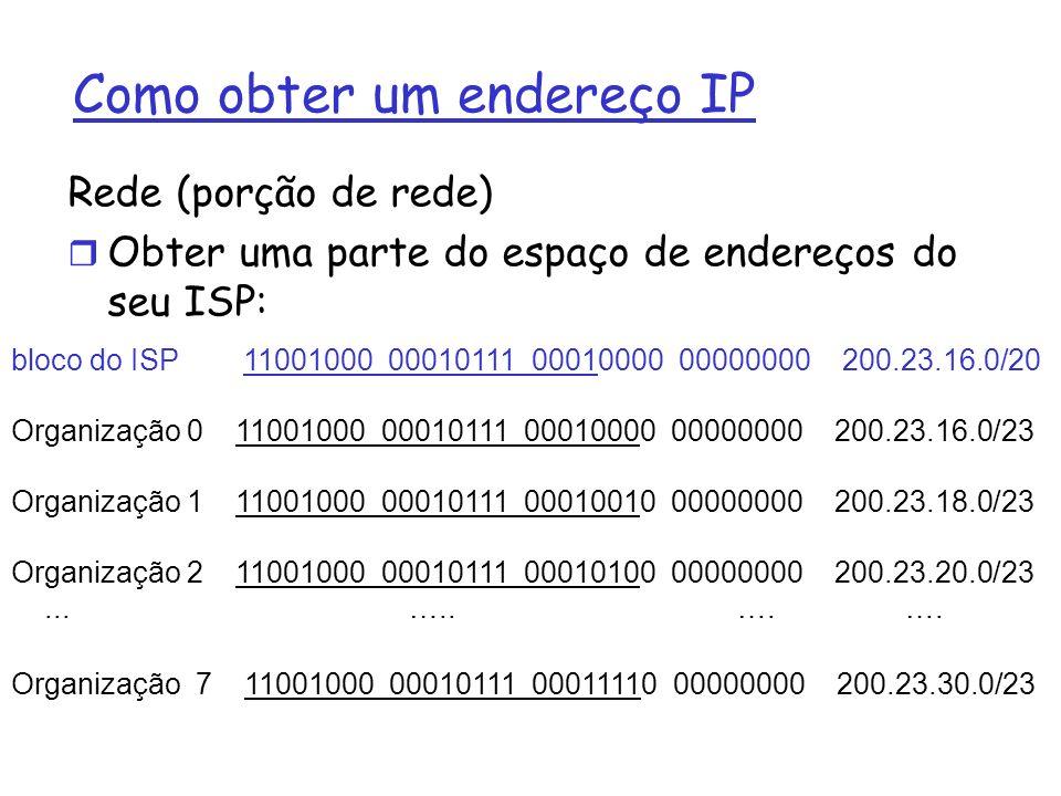 Endereçamento Hierárquico: agregação de rotas 200.23.16.0/23200.23.18.0/23200.23.30.0/23 Fly-By-Night-ISP Organização 0 Organização 7 Internet Organização 1 ISPs-R-Us Me envie qualquer coisa com endereço começando por 199.31.0.0/16 200.23.20.0/23 Organização 2......