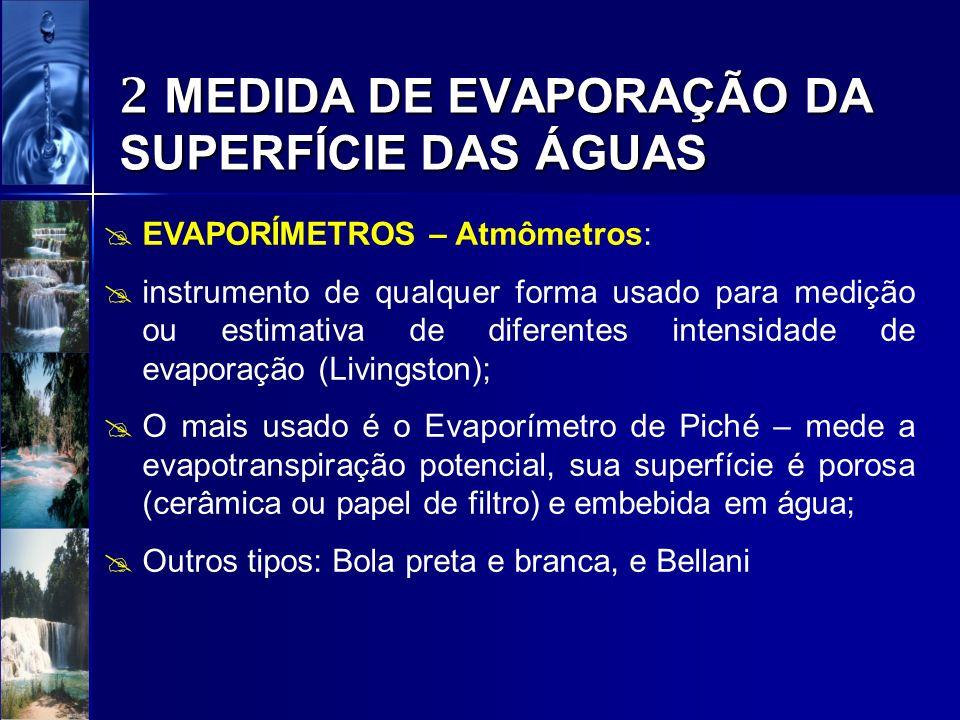 2 MEDIDA DE EVAPORAÇÃO DA SUPERFÍCIE DAS ÁGUAS EVAPORÍMETROS – Atmômetros:
