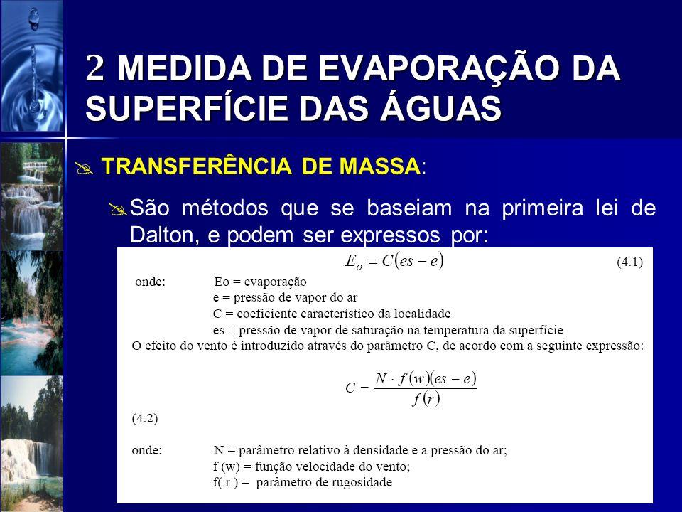 2 MEDIDA DE EVAPORAÇÃO DA SUPERFÍCIE DAS ÁGUAS BALANÇO HÍDRICO: Possibilita a determinação da evaporação com base na equação da continuidade do lago ou reservatório; Equação de balanço hídrico para estimar a evaporação teoricamente correto, pois está alicerçado no princípio de conservação de massa;