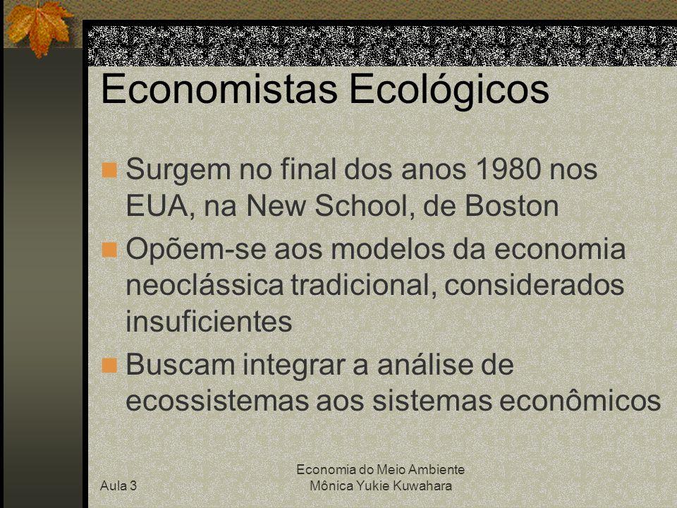 Aula 3 Economia do Meio Ambiente Mônica Yukie Kuwahara Economia Ecológica no Brasil Sociedade Brasileira de Economia Ecológica (ECOECO) define a economia ecológica como campo de conhecimento transdiciplinar, desenvolvido a partir do reconhecimento de que, de um lado, o sistema socioeconômico baseia-se e depende dos sistemas naturais e, de outro lado, ele interfere e transforma o funcionamento destes últimos (May, 2003, p.