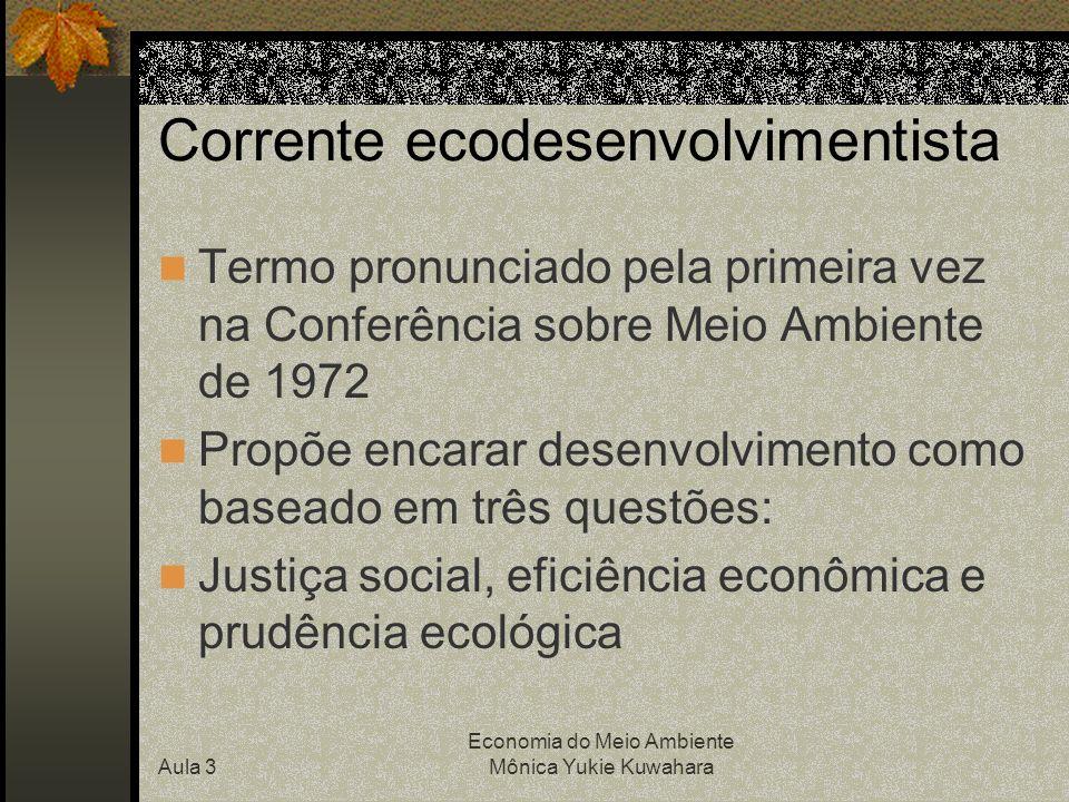 Aula 3 Economia do Meio Ambiente Mônica Yukie Kuwahara Problema ambiental decorre do estilo do desenvolvimento marcado por...