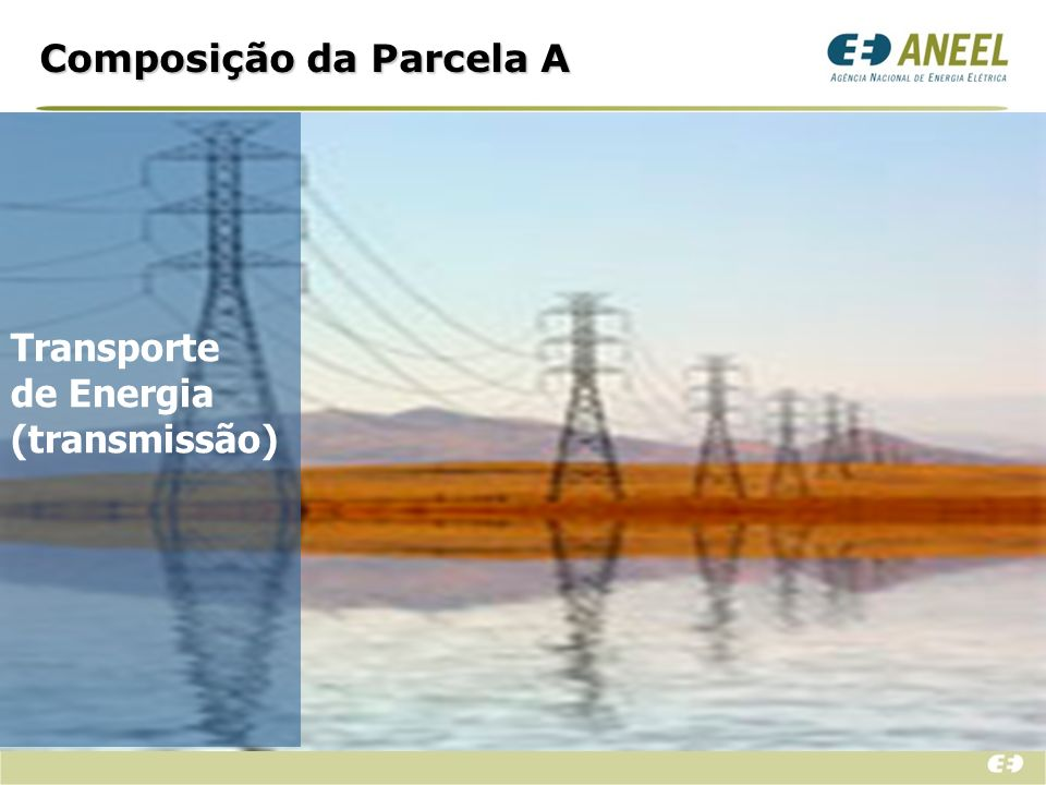 Parcela A Rede Básica; Rede Básica Fronteira; Conexão; Transporte Itaipu; MUST Itaipu; Despesa com o uso do Sistema de Distribuição (pequenas distribuidoras, principalmente).