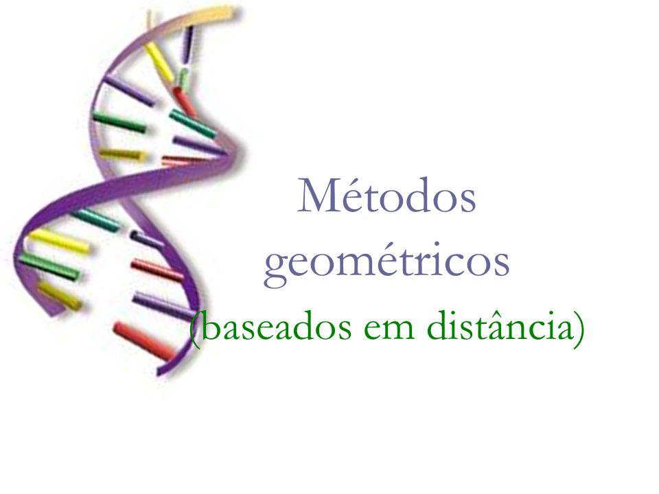 Cálculo de Distâncias As distâncias evolutivas são calculadas para todos os pares de taxa (ou OTUs) e a árvore é construída considerando as relações entre estes valores