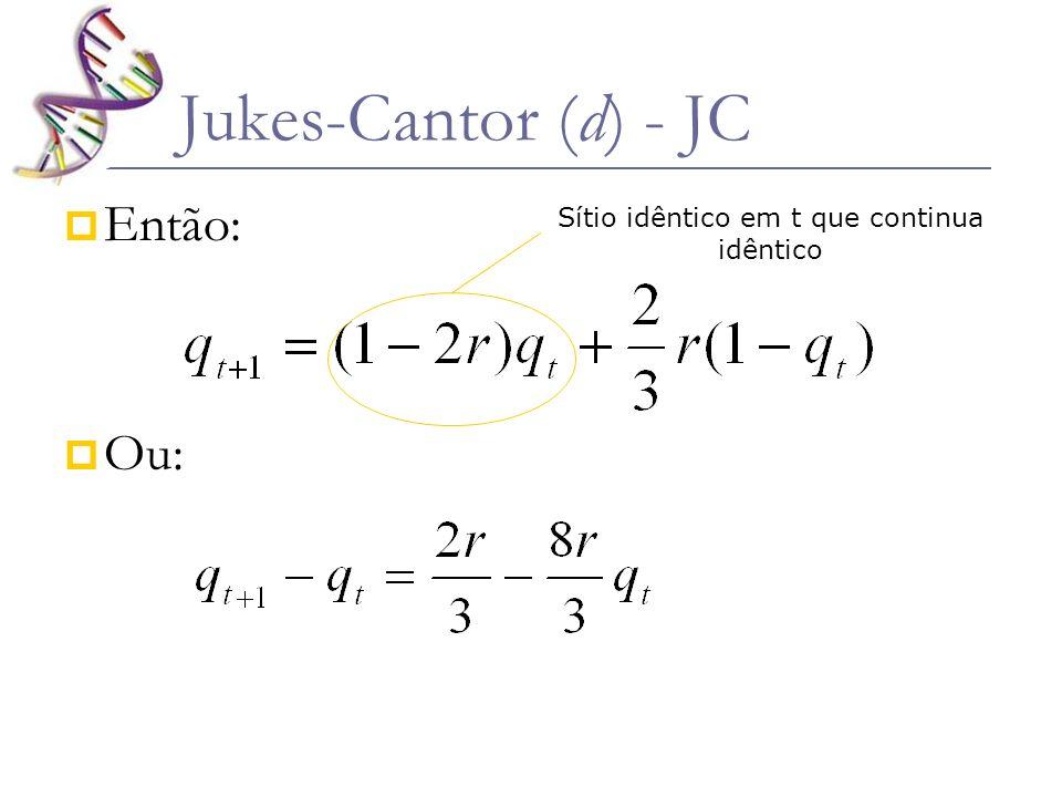 Então: Ou: Jukes-Cantor (d) - JC Sítio idêntico em t que continua idêntico Sítio não idêntico em t que passou a ser idêntico