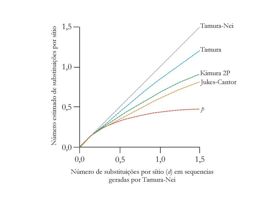 Tajima-Nei (F81) Leva em conta apenas as diferentes freqüências das bases: A T C G A - αg T αg C α 1 g G T αg A - αg C α 1 g G C αg A αg T - α 1 g G G αg A αg T αg C - g A, g T, g C, g G = frequência de cada uma das bases