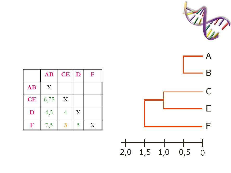 ABCEFD ABX CEF7X D4,54,3X Calcular as médias (d AC +d AE +d AF +d BC +d BE +d BF )/6; (d CD +d ED +d FD )/3