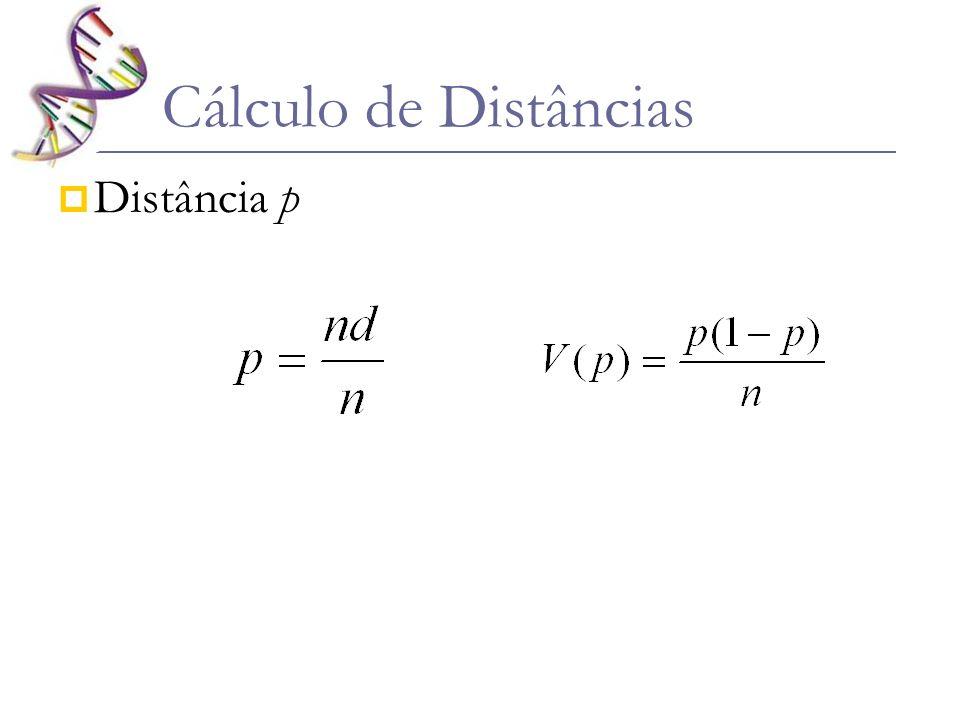 Se as seqüências forem muito distintas, p pode ser subestimado por homoplasias Com isso, algumas correções são necessárias Como regra geral: se p > 0,3 a distância calculada por p é uma subestimativa Se p > 0,5 – metade dos aa são diferentes...