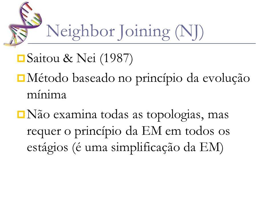 Conceito de vizinhos – dois taxa conectados por um único nó numa árvore não enraizada (1,2 e 5,6) Neighbor Joining (NJ)