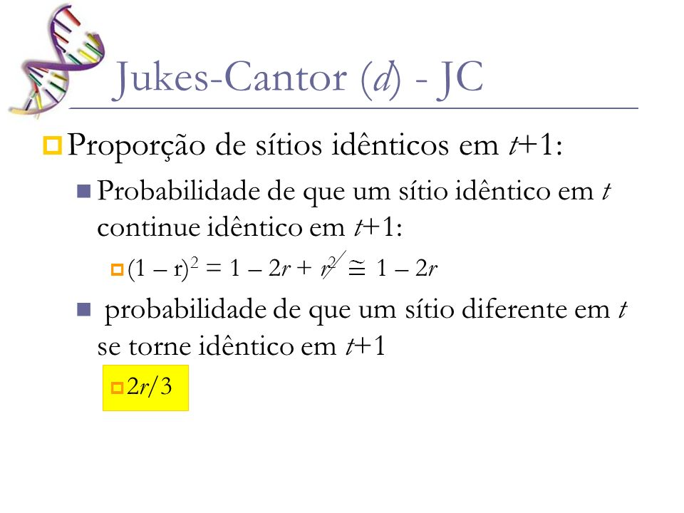 Seja X i e Y j em t: Para que sejam idênticos em t+1: X i X j e Y j Y j ; α (1 – r) ou X i X i e Y j Y i ; (1 – r) α 2.