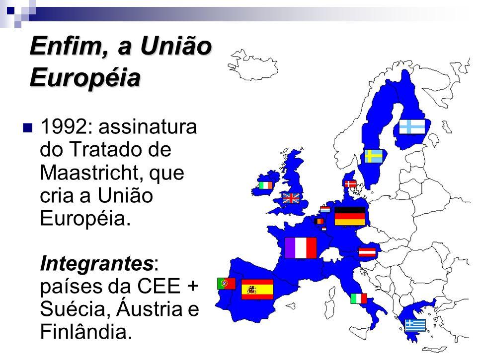 Tratado de Maastricht Foi a concretização do sonho da livre circulação de mercadorias, capitais, serviços e pessoas, aliado aos maiores investimentos nos países menos desenvolvidos, como Espanha, Portugal, Irlanda e Grécia.
