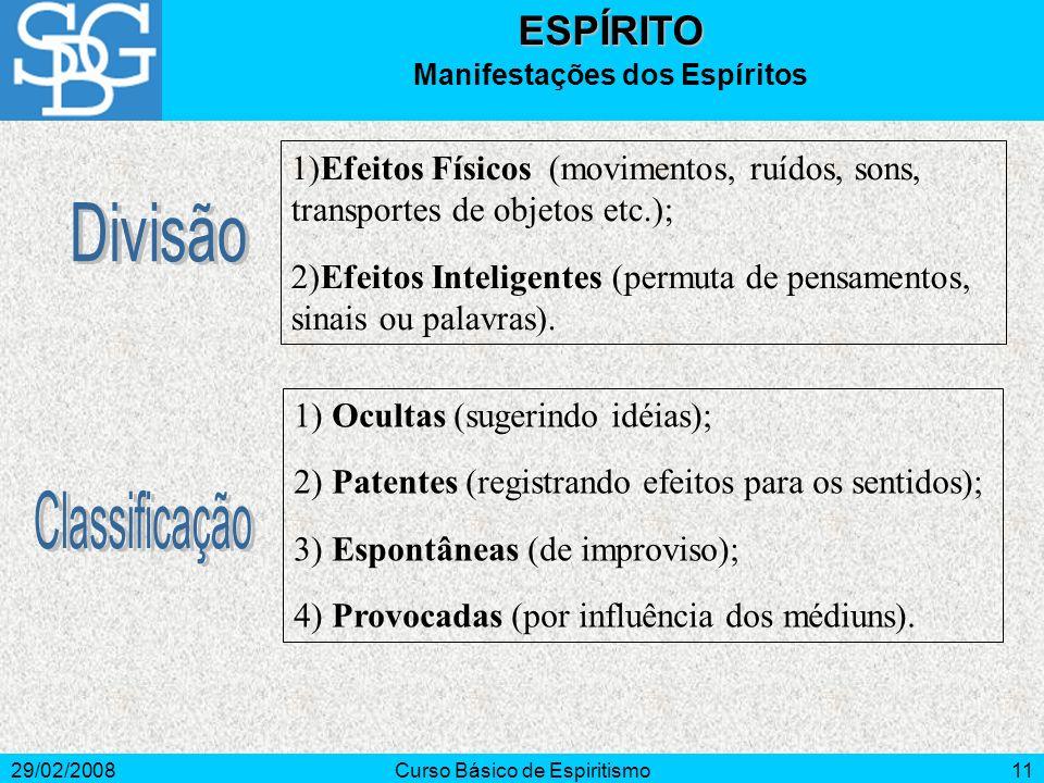 29/02/2008Curso Básico de Espiritismo12ESPÍRITO Escala Evolutiva 3.ª Ordem: Imperfeitos (orgulho, egoísmo, ódio); Impuros (leviano, pseudo-sábios, neutros); Perturbadores.