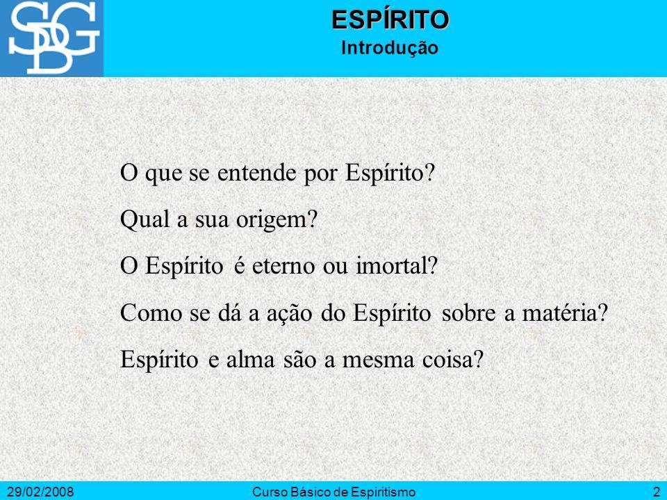 29/02/2008Curso Básico de Espiritismo3ESPÍRITO Conceito Espírito - do lat.