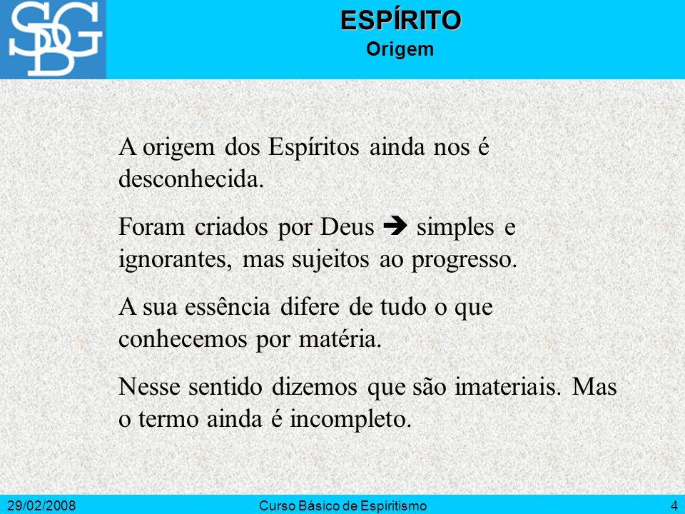 29/02/2008Curso Básico de Espiritismo5ESPÍRITO Origem Imaterial.