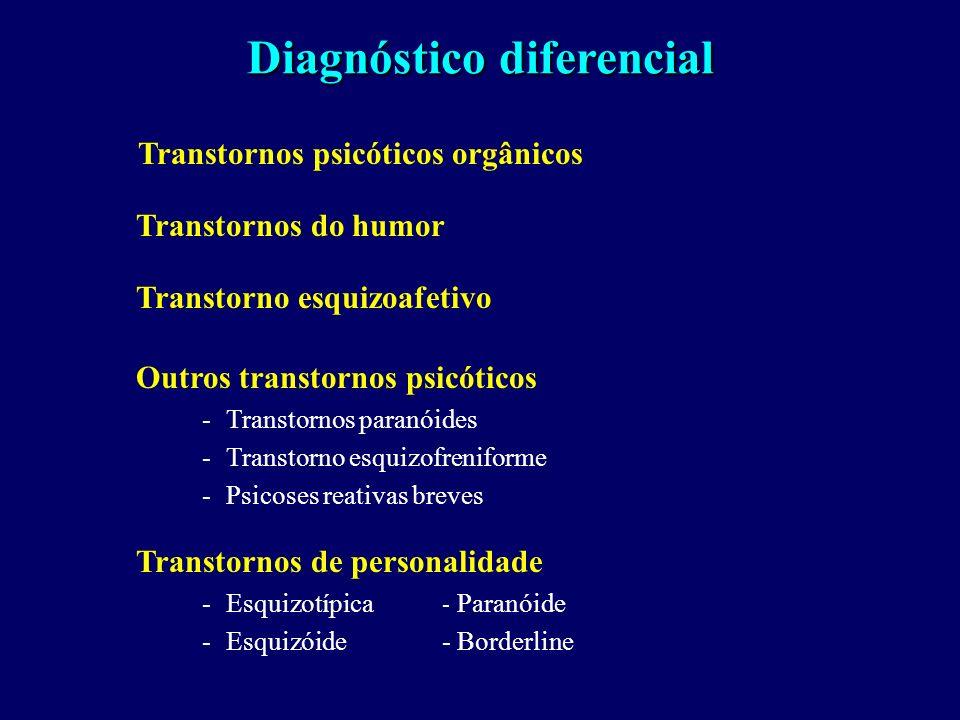 Diagnóstico diferencial Transtornos psicóticos orgânicos Transtornos do humor Transtorno esquizoafetivo Outros transtornos psicóticos -Transtornos paranóides -Transtorno esquizofreniforme -Psicoses reativas breves Transtornos de personalidade -Esquizotípica - Paranóide -Esquizóide- Borderline
