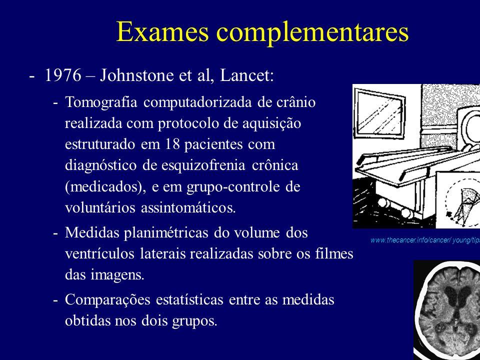 Exames complementares -1976 – Johnstone et al, Lancet: -Tomografia computadorizada de crânio realizada com protocolo de aquisição estruturado em 18 pacientes com diagnóstico de esquizofrenia crônica (medicados), e em grupo-controle de voluntários assintomáticos.