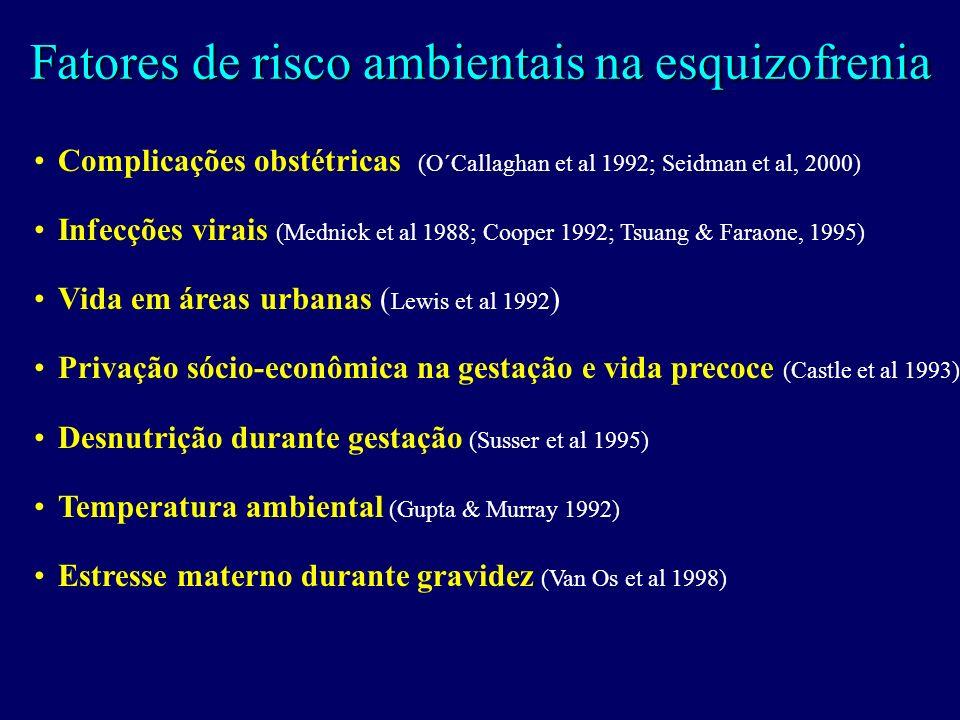 Fatores de risco ambientais na esquizofrenia Complicações obstétricas (O´Callaghan et al 1992; Seidman et al, 2000) Infecções virais (Mednick et al 1988; Cooper 1992; Tsuang & Faraone, 1995) Vida em áreas urbanas ( Lewis et al 1992 ) Privação sócio-econômica na gestação e vida precoce (Castle et al 1993) Desnutrição durante gestação (Susser et al 1995) Temperatura ambiental (Gupta & Murray 1992) Estresse materno durante gravidez (Van Os et al 1998)