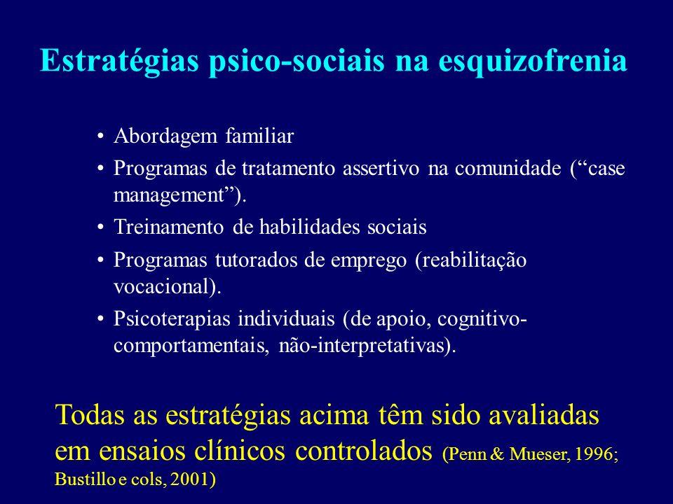 Estratégias psico-sociais na esquizofrenia Abordagem familiar Programas de tratamento assertivo na comunidade (case management).