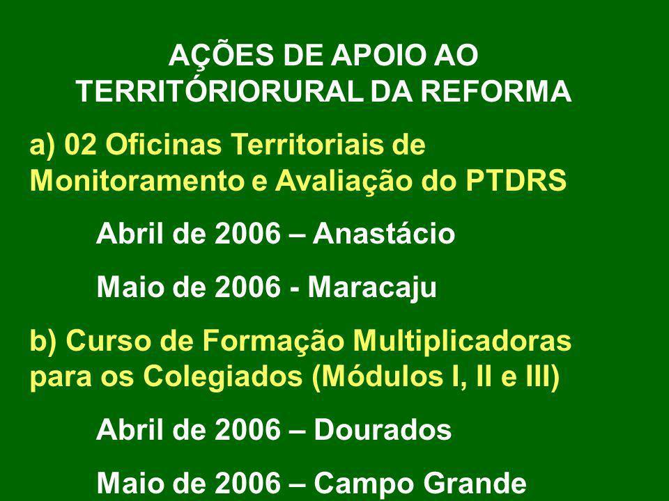 Construção dos Projeto Territorial para o PROINF 2006 (Programa de Apoio à Infra-estrutura e serviços municipais) Projeto Territorial 2005 com 02 PLANOS DE TRABALHO: 1º) Construção da Unidade Benefiaciqamento de grãos e congêneres (Prefeitura de Nioaque) R$ 254.125,00 2º) Ações Custeio em Apoio ao Desenvolvimento do PTDRS (Fundação Cândido Rondon) R$ 13.273,39