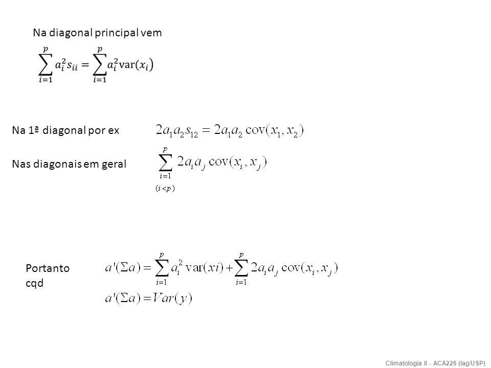 Componentes principais : definição e determinação Seja o sistema (V) de Y = f(X 1,X 2,..,X p ) de p variáveis independentes, com n eventos cada (no tempo por ex), as CP serão determinadas com o fim de reter o máximo de informação das variáveis (X 1,..,X p ) transformando-as em outras p variáveis Y 1, Y 2,...Y p, onde se: (a) garanta a sua ortogonalidade de Y i (i=1,p) ; (b) retenha somente k variáveis mais importantes (k<p), Y 1,...,Y k ; (c) Possa interpretar a importância de cada X i (i=1,p) nas CP.