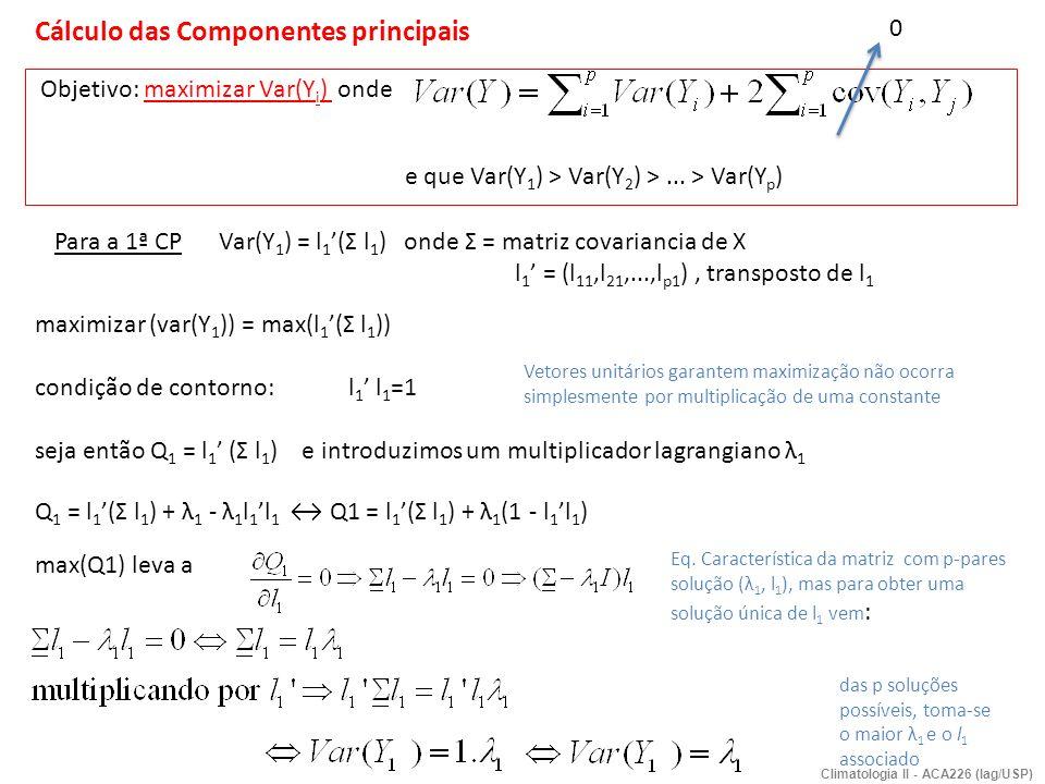 a) Procedimento de cálculo : dada matriz de covariância Σ de X = (X 1,.., X p ) calculam-se os p pares (autovalor, autovetor) = (λ 1, l 1 ),..., (λ p, l p ) Identifica-se a 1ª CP no maior λ 1, e assim sucessivamente a 2ª CP até k-esima CP tal que (λ 1 > λ 2 >...