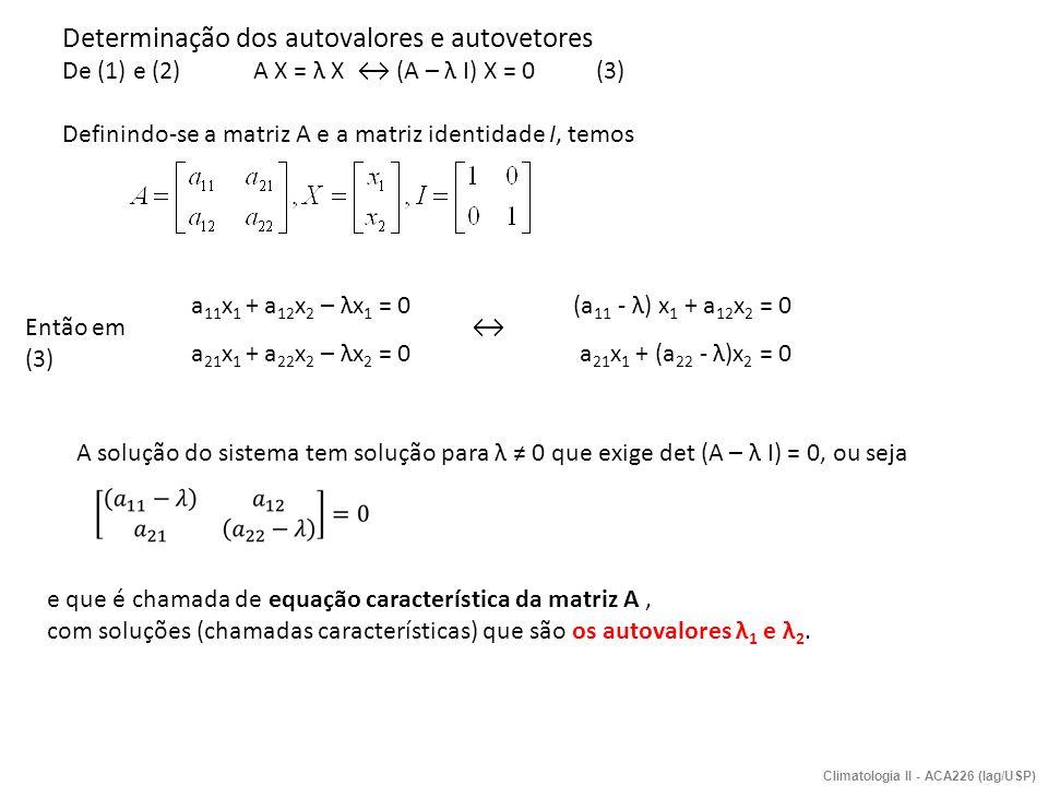 Em (3), para cada λ i obtem-se um autovetor associado X i, ou seja, (no exemplo i=1,2) formam-se os pares (λ 1, X 1 ) e (λ 2,X 2 ), com as seguintes propriedades: os autovetores X i são lineares independentes, portanto formam uma base vetorial, são ortogonais entre si; nenhum X k pode ser expresso em função de outro X j ; cov(X k,X j ) kj = 0 Revisão 6.