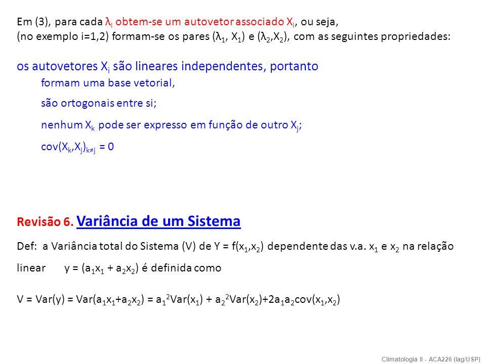 = matriz de covariância de X a = matriz transposta de a Demonstração: Ou na forma genérica (i=1,..,p) mostra-se que Climatologia II - ACA226 (Iag/USP)